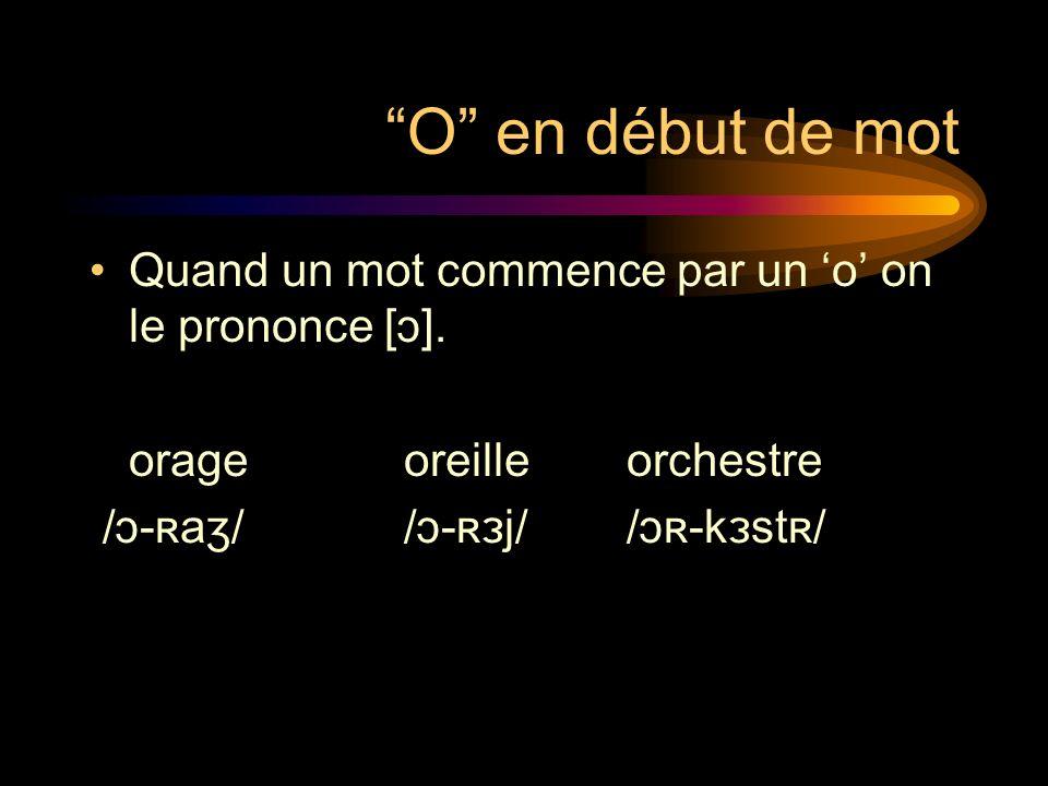 O en début de mot Quand un mot commence par un 'o' on le prononce [ɔ]. orage oreille orchestre.